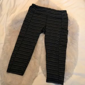 Joe Fresh Active Black and Gray Striped Capris